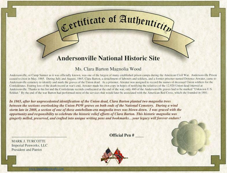 Clara Barton Certificate of Authenticity